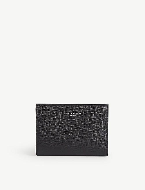 SAINT LAURENT Pebbled leather wallet