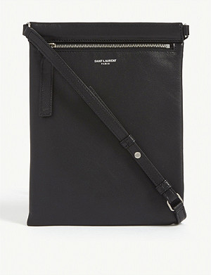 SAINT LAURENT Foil logo leather flat crossbody bag