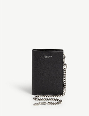 SAINT LAURENT Pebbled leather wallet on chain