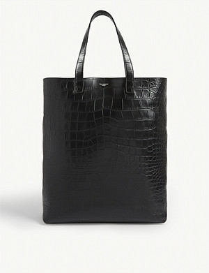 SAINT LAURENT Croc-embossed leather shopper bag
