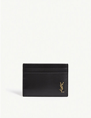 SAINT LAURENT: Monogram logo leather cardholder