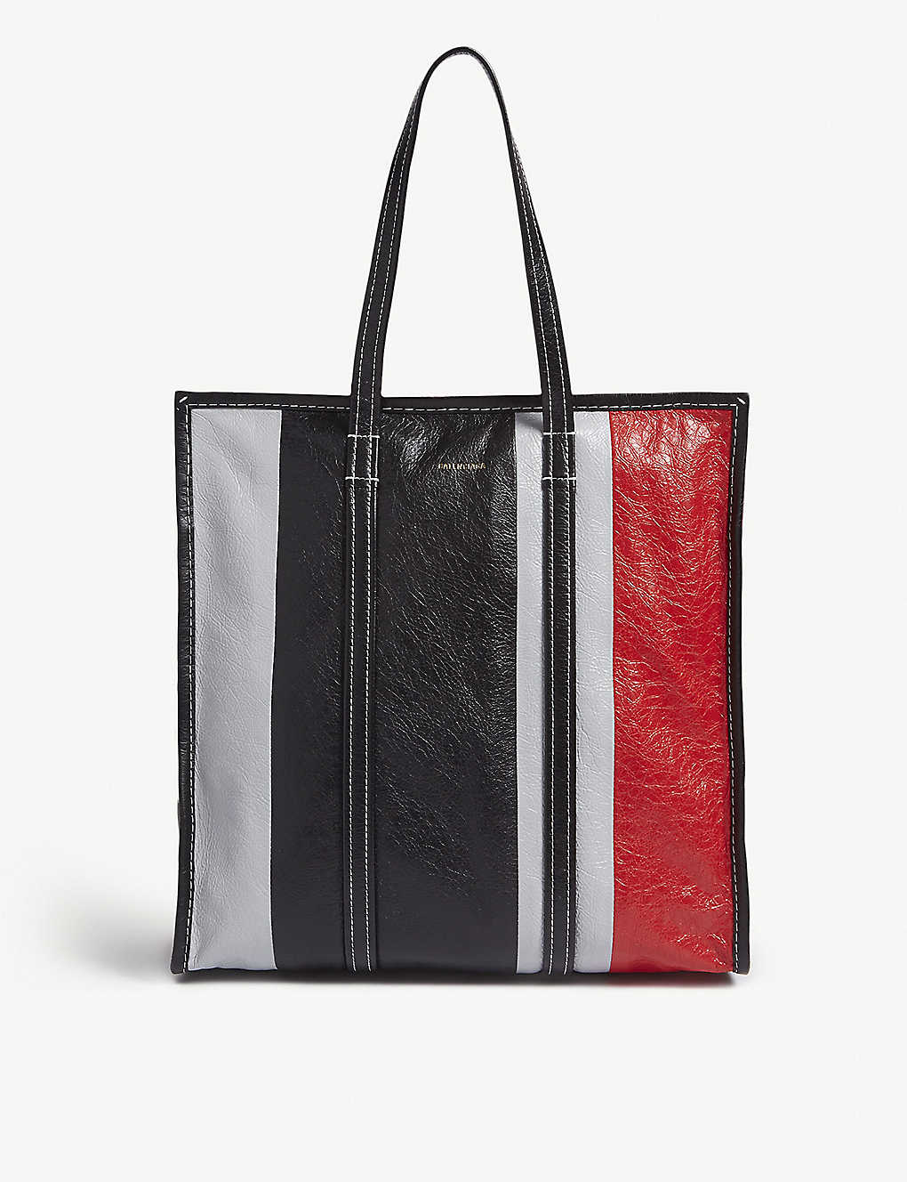 df5d602b9 BALENCIAGA - Bazar medium striped leather tote   Selfridges.com