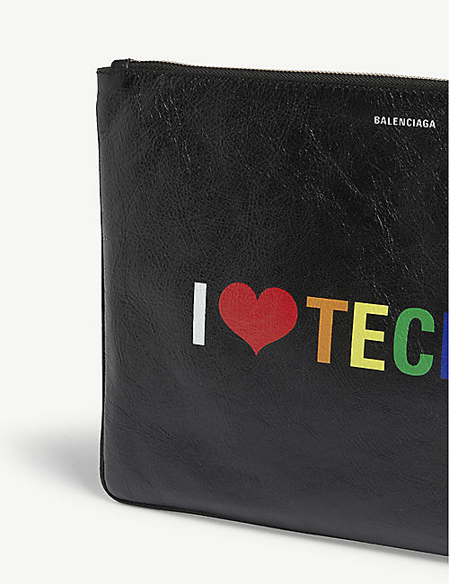 BALENCIAGA 'I Love Techno' leather pouch