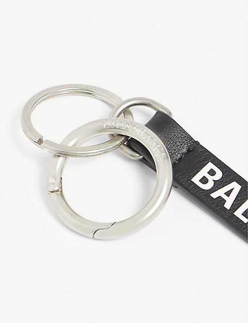 BALENCIAGA Logo leather keyring