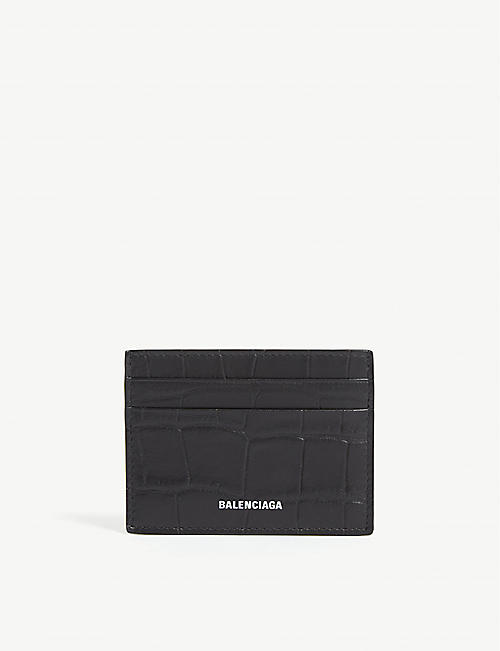 BALENCIAGA Logo croc-embossed leather card holder