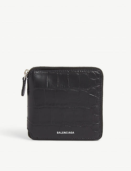 BALENCIAGA Croc-embossed leather wallet