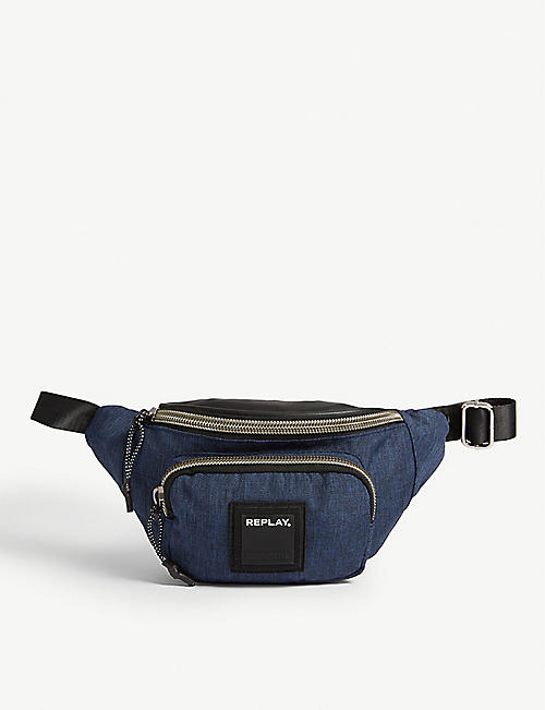 REPLAY Rubber logo canvas bum bag