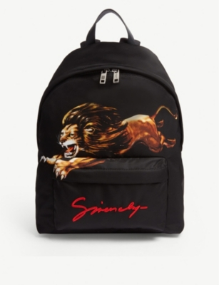 GIVENCHY Lion-print shell backpack