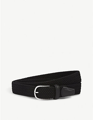 ANDERSONS: Woven elastic and leather belt