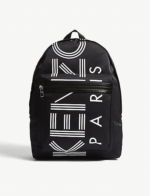 KENZO Striped logo zipped backpack