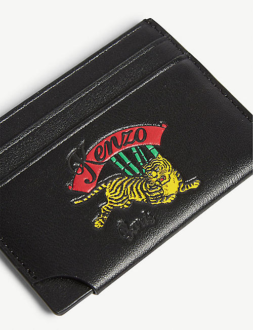 KENZO Bamboo tiger logo leather card holder