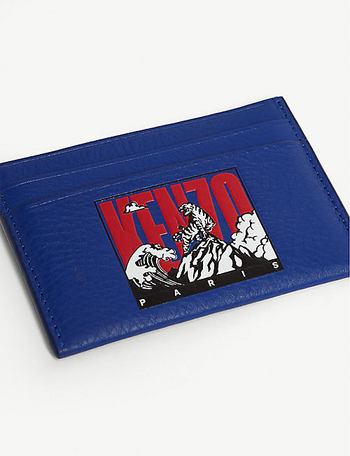 KENZO Tiger motif leather card holder