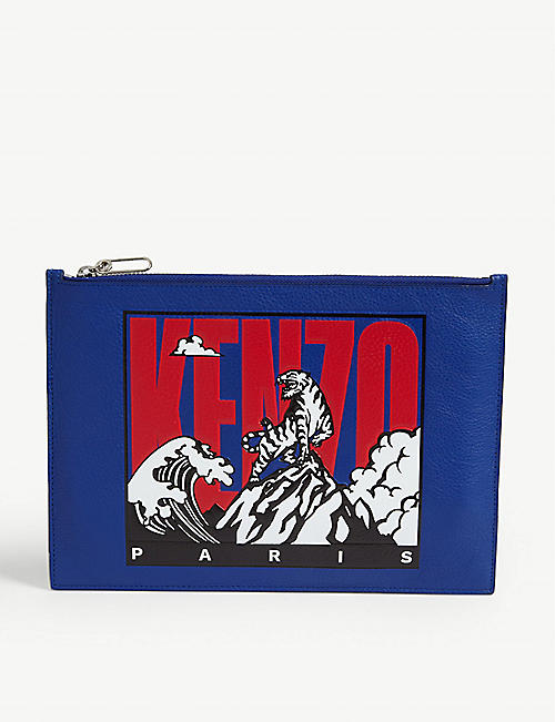 KENZO Tiger Mountain leather pouch