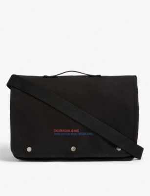 CALVIN KLEIN Branded cotton canvas messenger bag