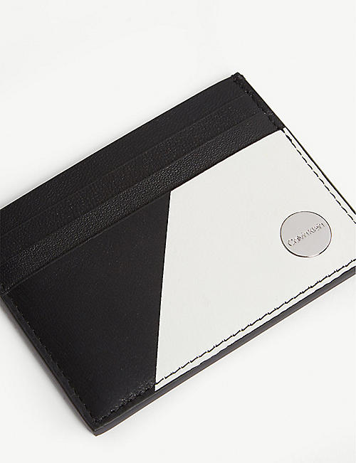CALVIN KLEIN Monochrome sliced leather cardholder