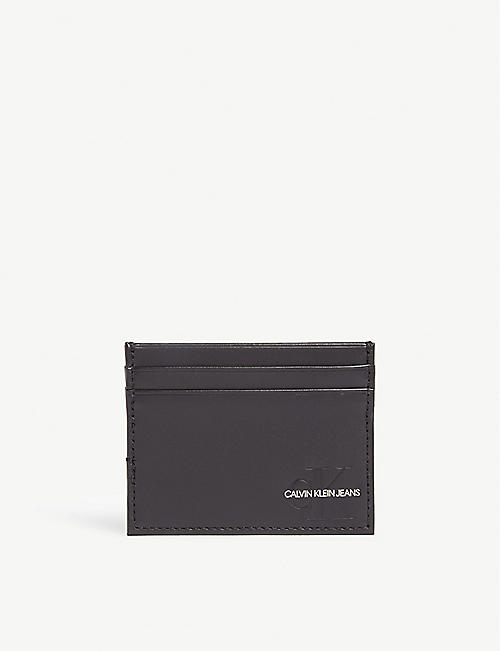 CALVIN KLEIN Monogram leather card holder