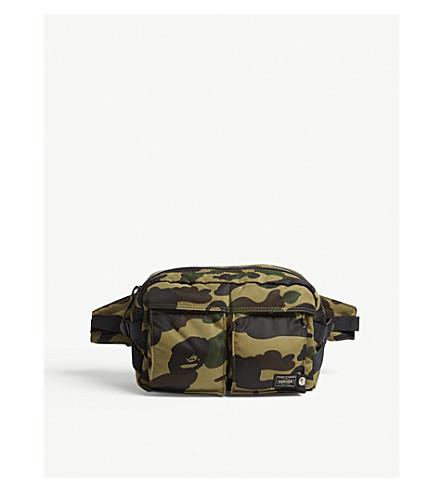 8884284545 A BATHING APE Porter 1st Camo nylon bum bag (Green+camo