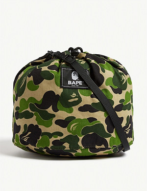 A BATHING APE Camouflage drawstring shoulder bag