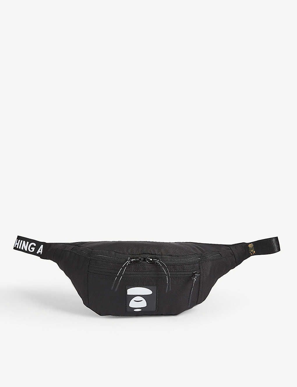 A BATHING APE: Logo print nylon belt bag