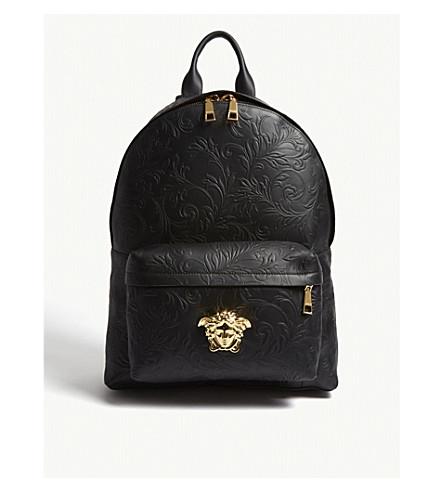 d46601c0b4 VERSACE Medusa patterned leather backpack (Black+gold