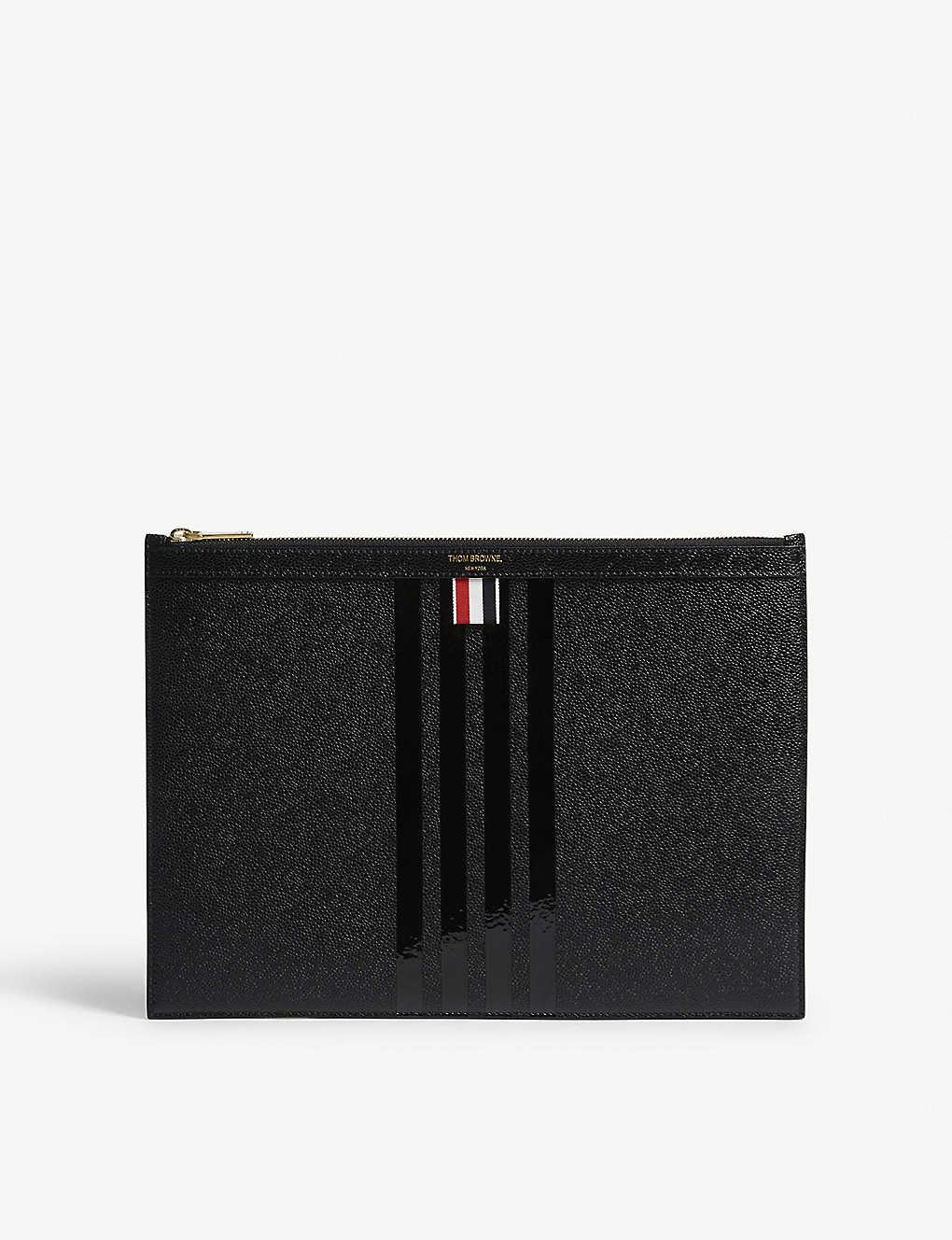 92b65a1ed4c3 THOM BROWNE - Tonal stripe medium leather pouch | Selfridges.com