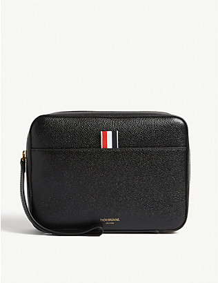 THOM BROWNE: Pebbled Leather Zip Pouch