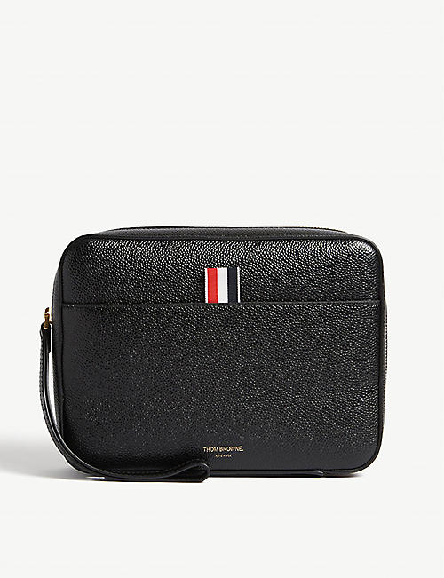 THOM BROWNE Pebbled Leather Zip Pouch