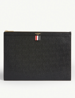 THOM BROWNE Leather zipped document holder