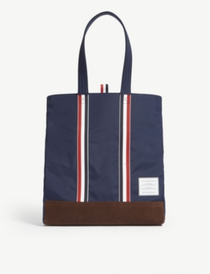 THOM BROWNE Unstructured woven and suede tote