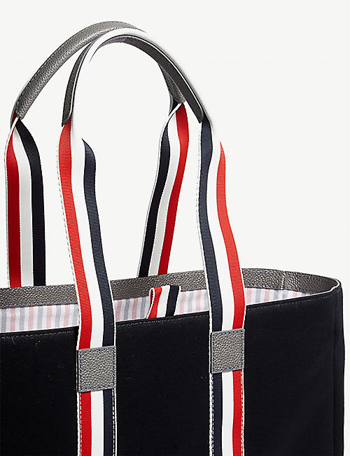 THOM BROWNE Striped cotton canvas tote