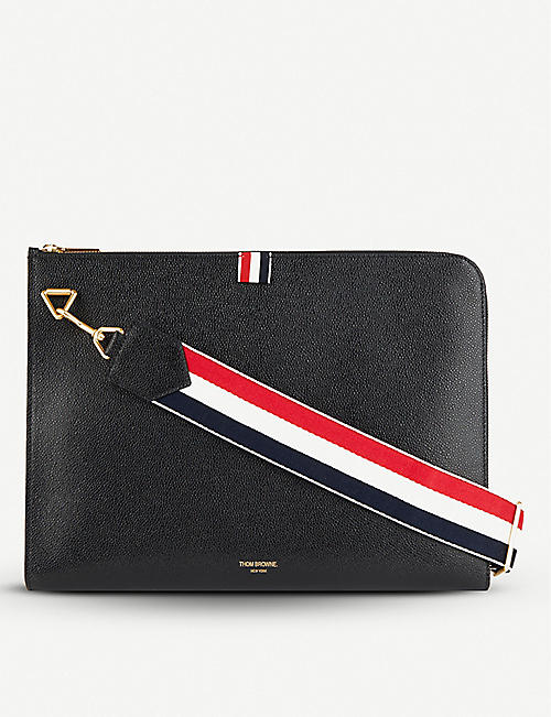 THOM BROWNE Folio saffiano leather shoulder bag