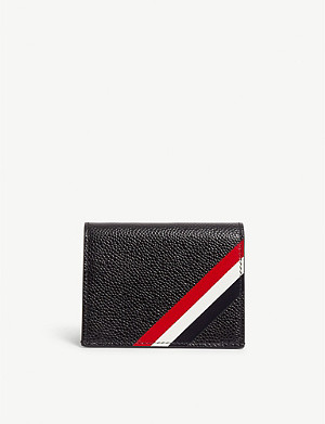 THOM BROWNE RWB logo leather card holder