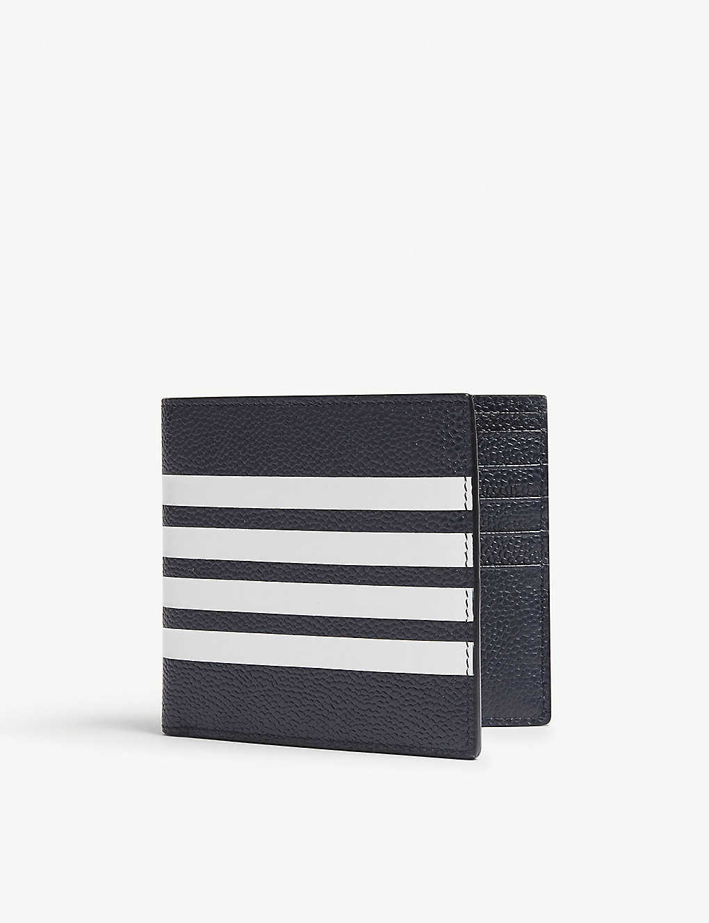 974228af1002 THOM BROWNE - Four-stripe pebbled leather billfold wallet ...
