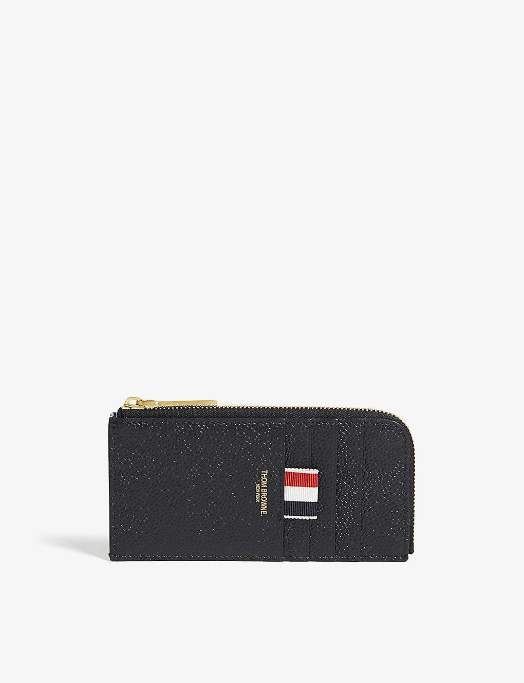 8a661a31f33f THOM BROWNE - Pebbled leather half-zip card case | Selfridges.com