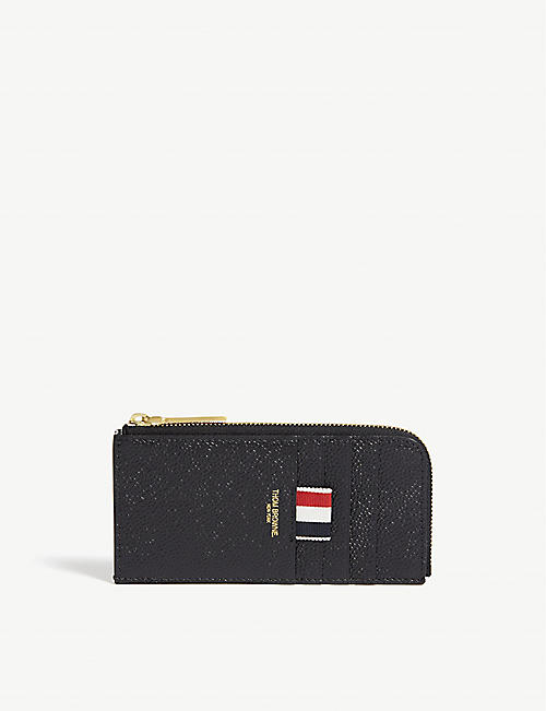 THOM BROWNE: Pebbled leather half-zip card case