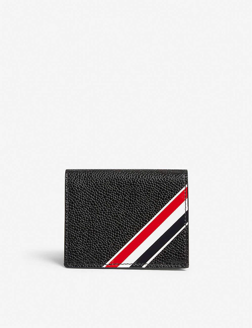 dc7abef7d26 THOM BROWNE - Striped pebbled leather card wallet | Selfridges.com