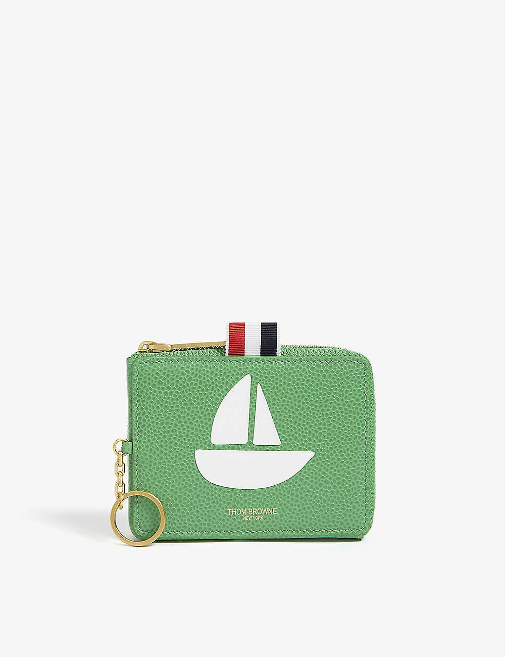 8cbb4b684aa THOM BROWNE - Sailboat print leather coin purse | Selfridges.com