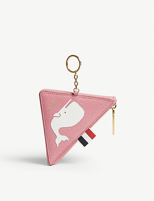 THOM BROWNE Whale print triangle leather coin purse