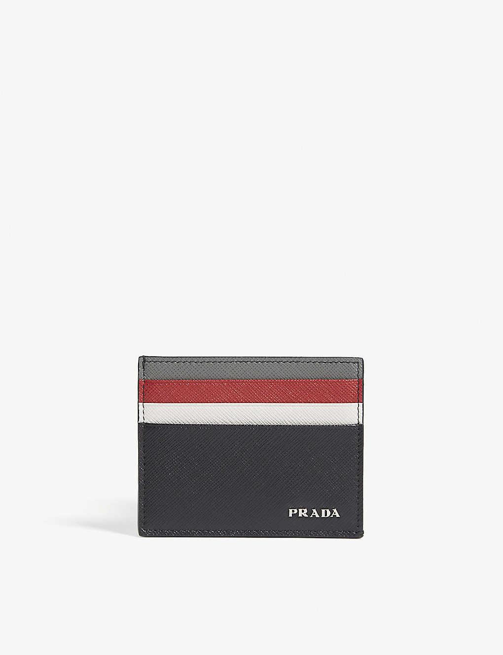 b8734a93407f PRADA - Tri-colour Saffiano leather card holder | Selfridges.com