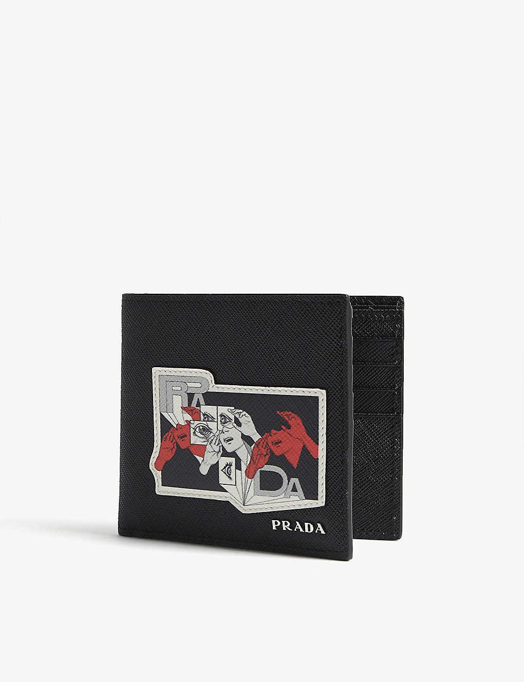 4387da4797f5 PRADA - Eye patch Saffiano leather wallet | Selfridges.com
