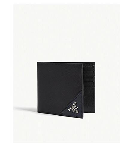 fbede0993ed719 PRADA Saffiano leather billfold wallet (Black+baltic+blue