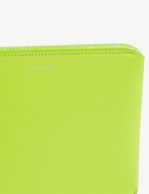 ACNE STUDIOS Malachite neon leather pouch