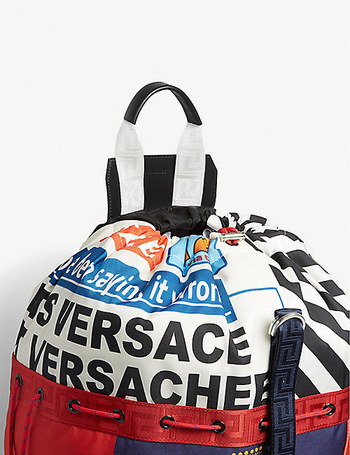 VERSACE News print canvas duffle bag