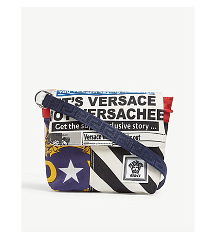 27508cb97868 VERSACE - News print canvas cross-body bag