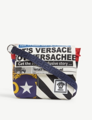 VERSACE News print canvas cross-body bag