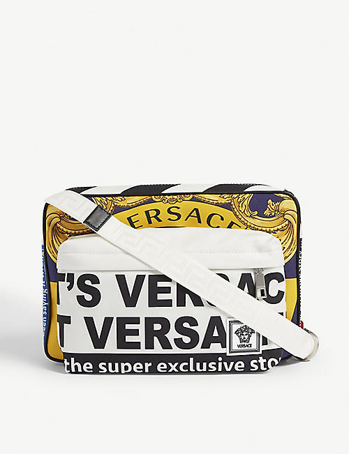 VERSACE News print canvas messenger bag
