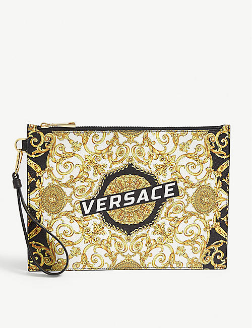VERSACE Leather hibiscus pouch