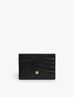 VERSACE Medusa logo croc-embossed leather wallet