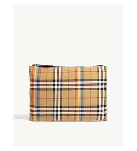 ... BURBERRY Rainbow check-print medium cotton pouch (Natural. PreviousNext 684cd39d495ea