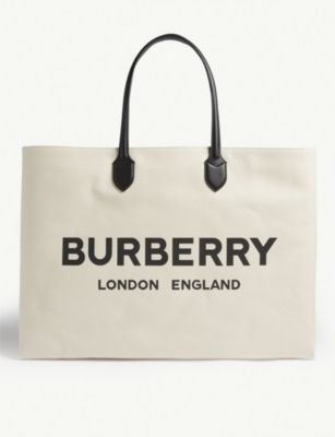 BURBERRY Logo canvas tote